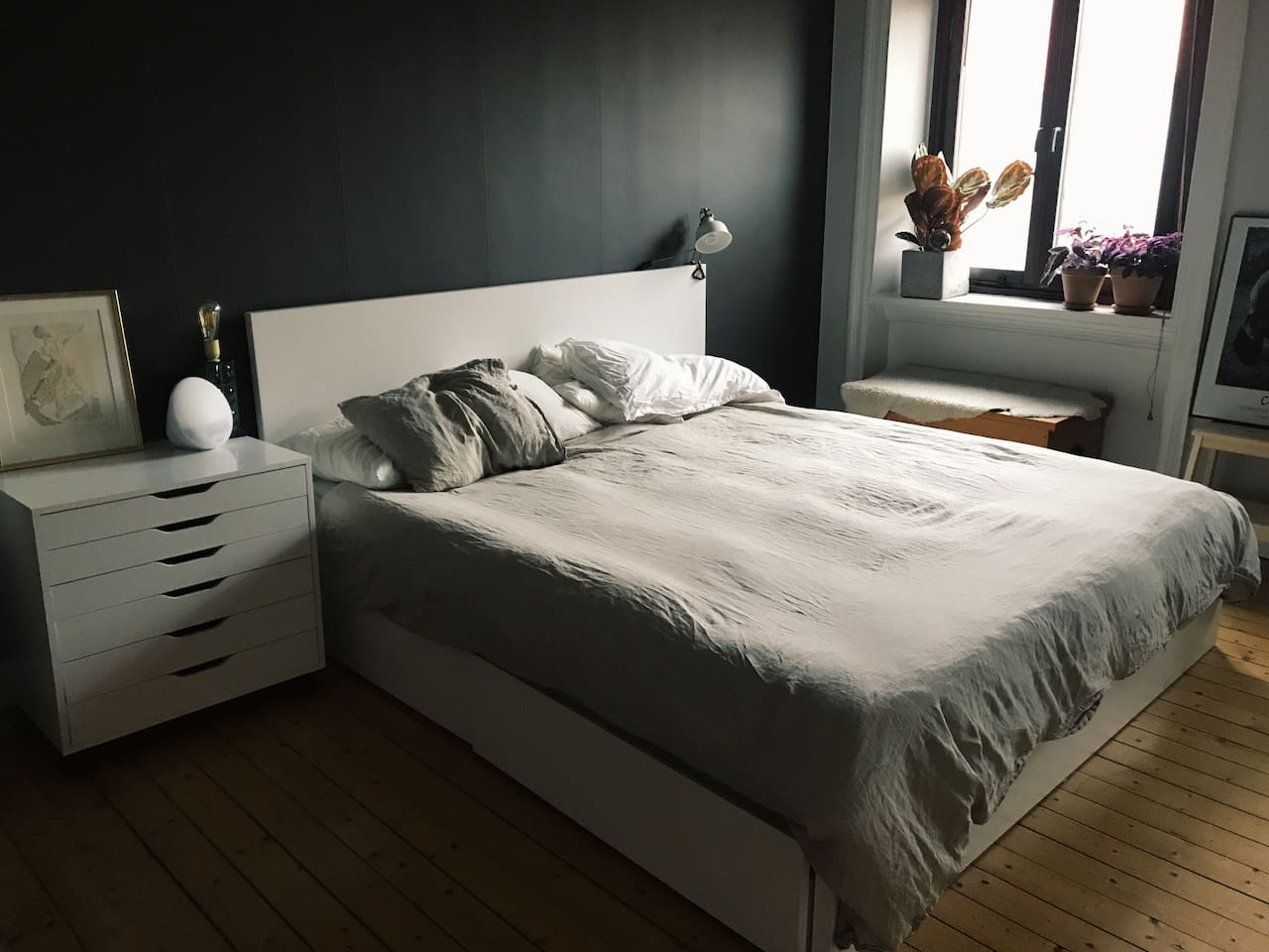 Large bedroom with 180cm bed, room for storing clothes and two windows.