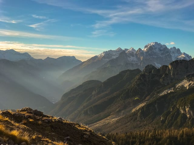 View from Mangart mountain -Paragliding (Triglav National Park)