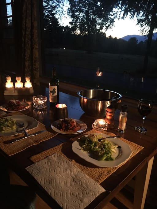 Autumn Dinner (OCT 10, 2017) in our dining room looking out onto High Point Mountain!
