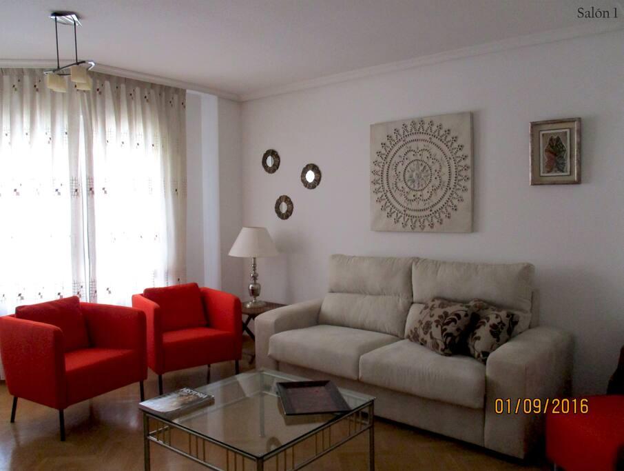 Salón moderno, luminoso y cómodo.