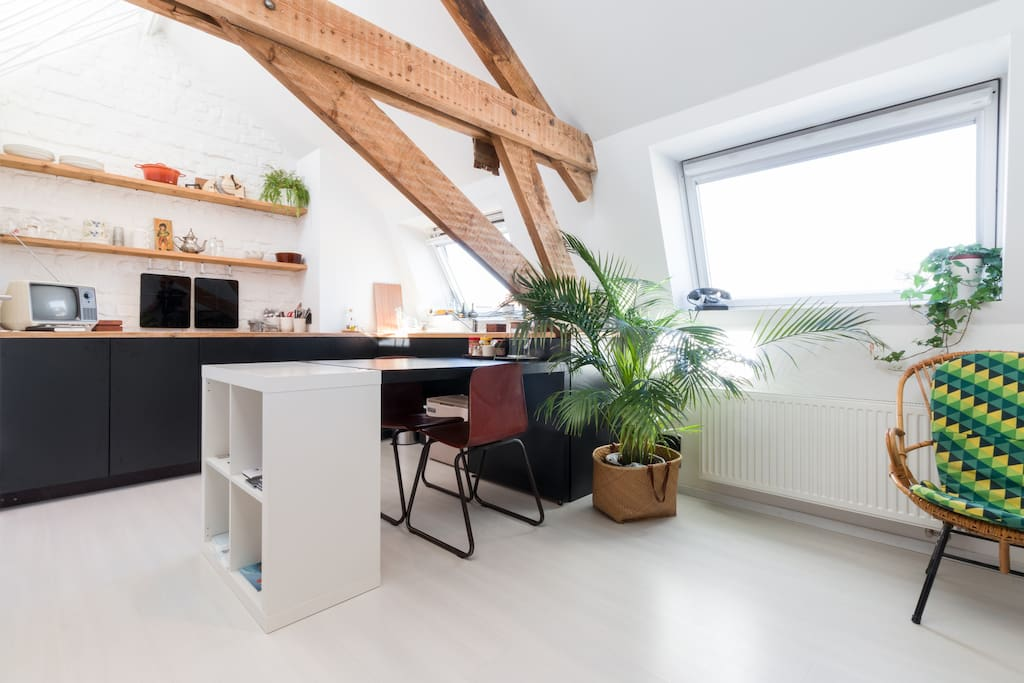 Bright & tastefully renovated attic with kitchen
