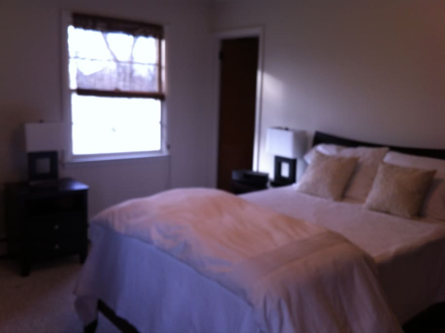 Master bedroom with super comfy queen bed,full bathroom,north and west exposure,2 windows with breeze,full closet