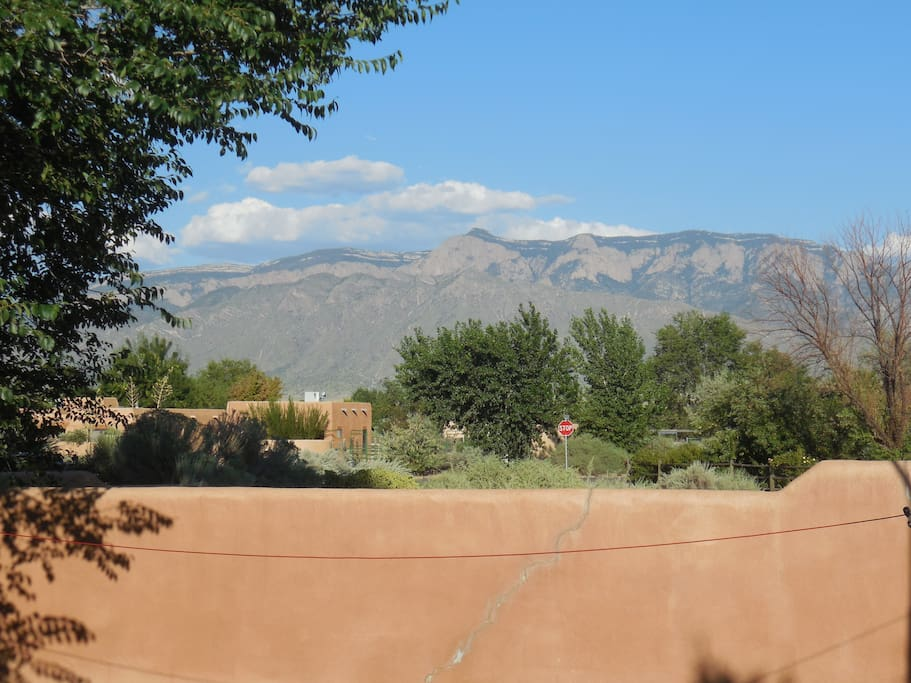 Spectacular view of the Sandia Mountains from the back patio!