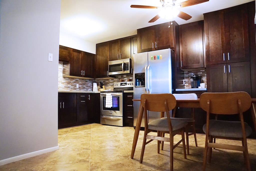 The kitchen is newly remodeled with brand new appliances.