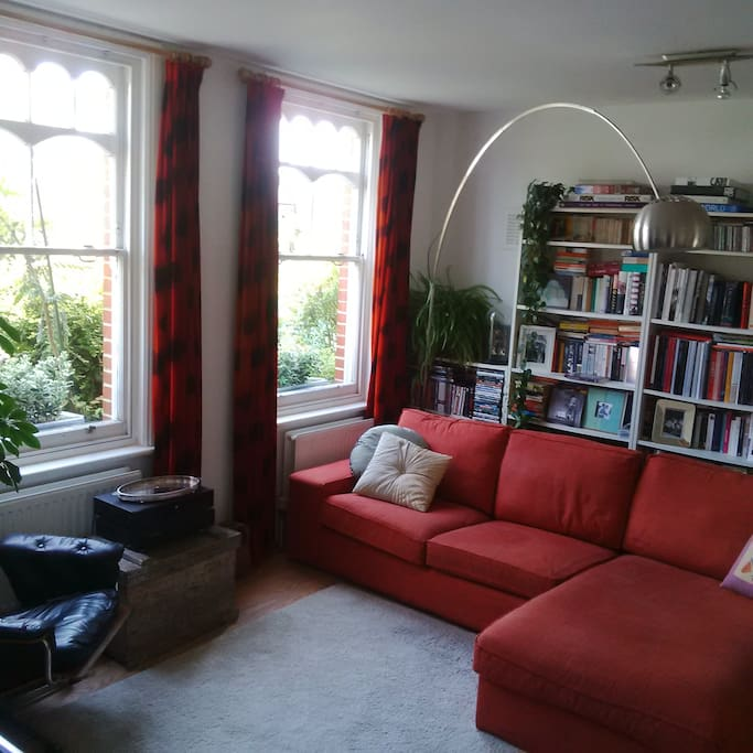 Plenty of seating on a big sofa and armchair.