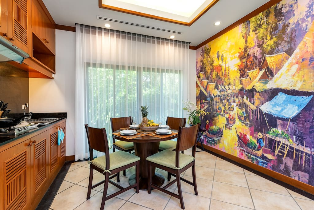 Beautiful Thai floating market wall mural. Enjoy your meals in a space awash with natural light