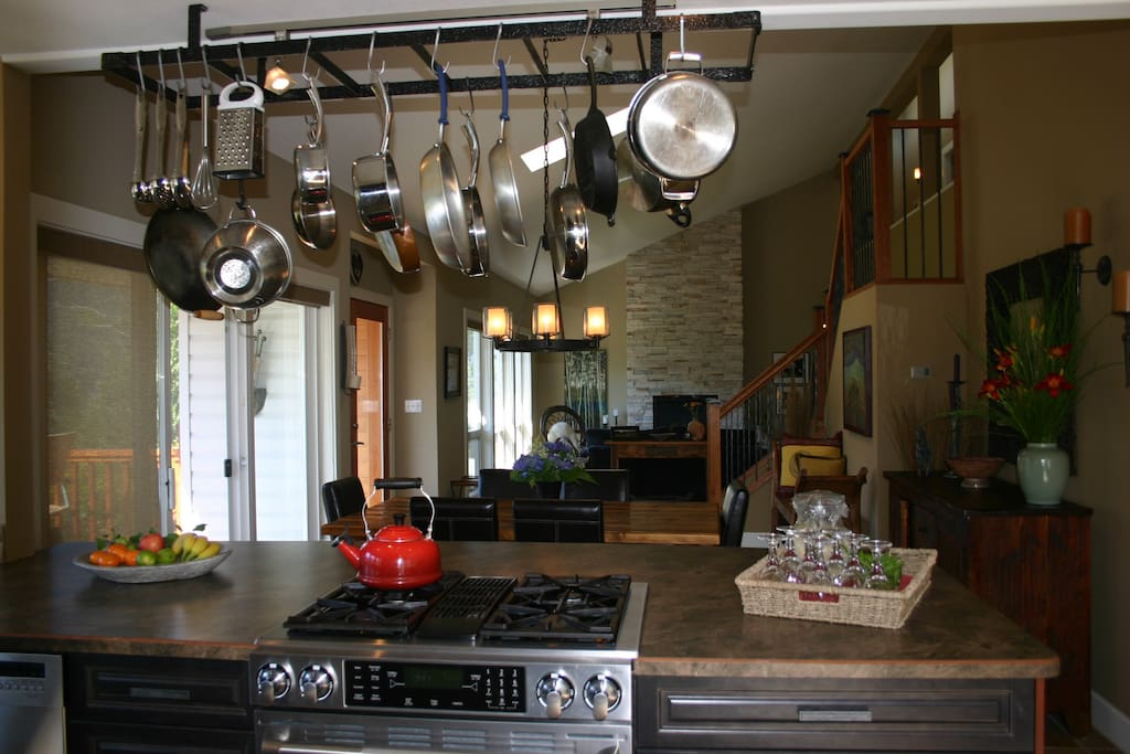 Open concept kitchen and living space.
