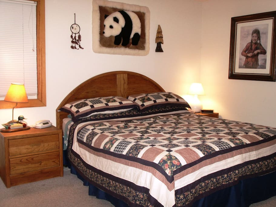 Master Bedroom with king size bed and master bath with Tub and shower