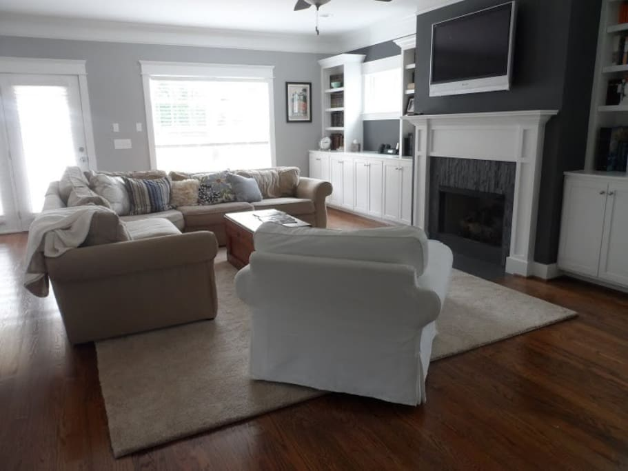 Our downstairs family room, adjacent to the open kitchen.