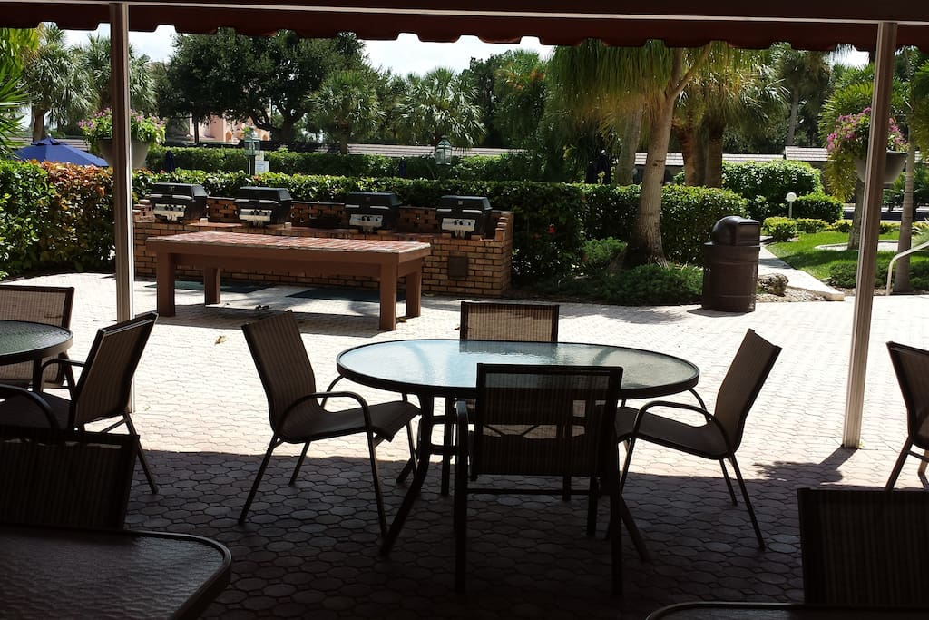 Outdoor Gas Grills and seating area