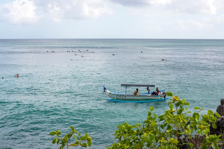 our charter boat for fishing, surfing and sunset cruise