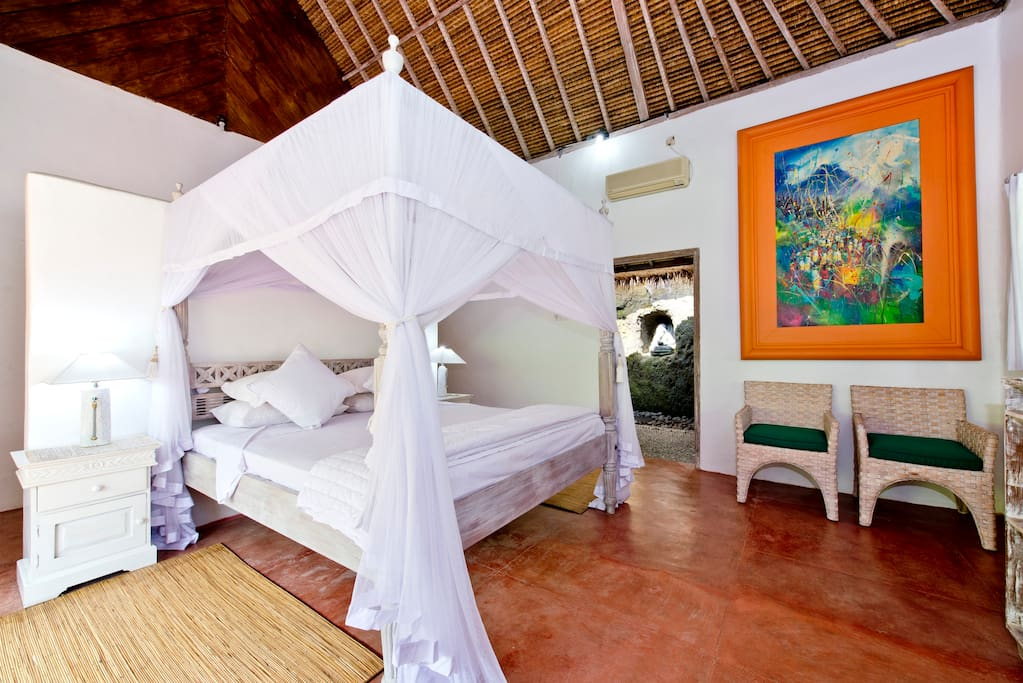 The spacious air - conditioned room with adjoining private en-suite bathroom.