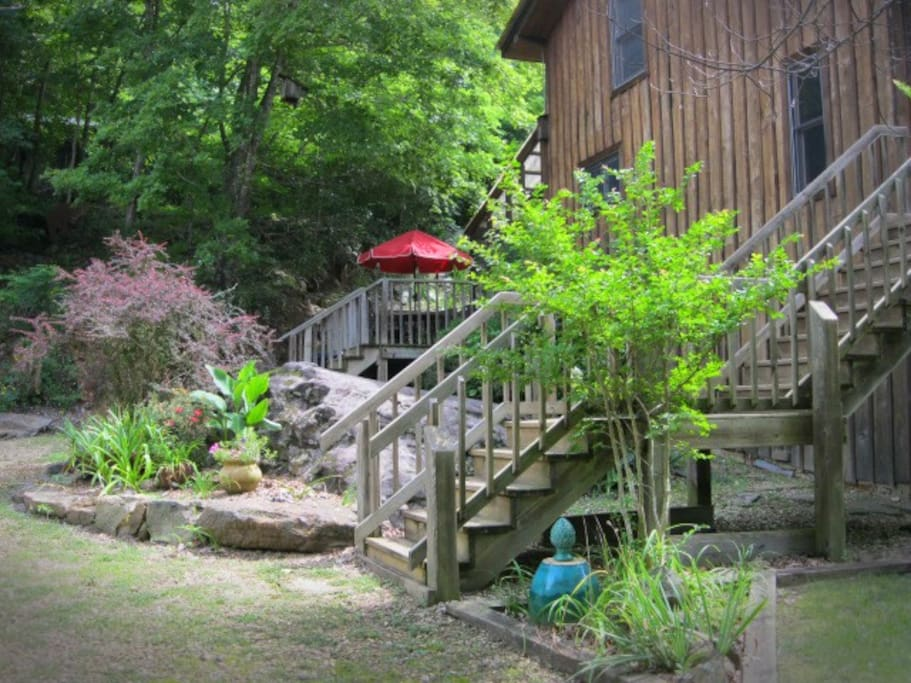 Stairs up to kitchen deck