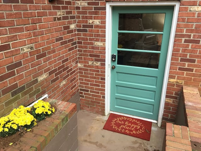 You can't miss the entrance to the suite with this bright blue door!