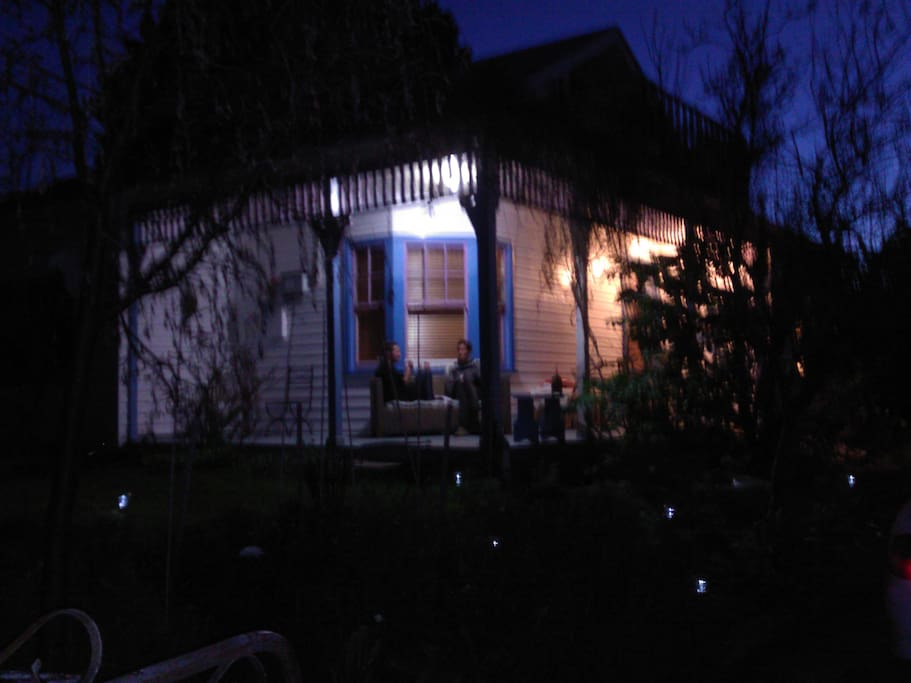 The verandah at night.
