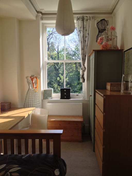 Plenty of space in this lovely double, room overlooking a quiet park.
