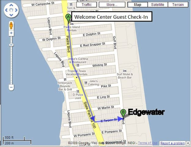 Map from the Welcome Center to Edgewater condominiums