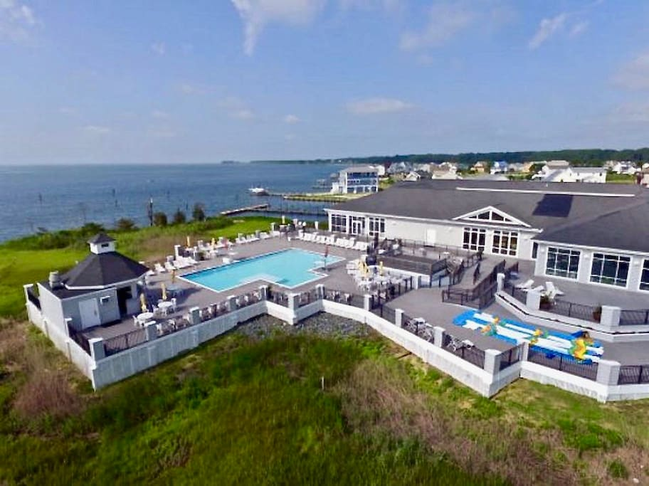 When not at the beach. Guests enjoy our Captains Cove Marina club on Chincoteague Bay. Outdoor pool with snack Tiki bar, indoor pool, 5 star restaurant, bar, fitness center.