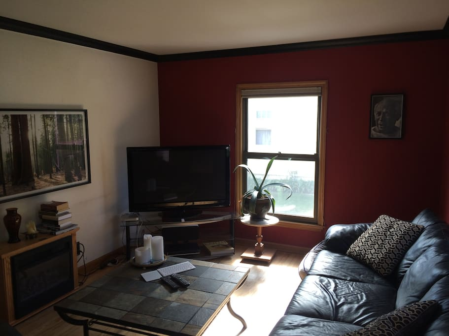 Living room with fabulous artwork, hardwood floors, mac mini hooked into TV.