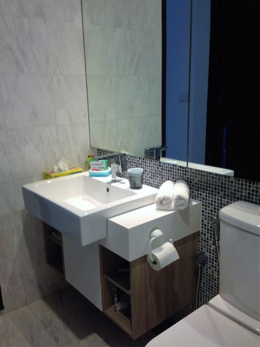 A big bathroom with a big mirror; soap, shampoo, tissues and towels are provided