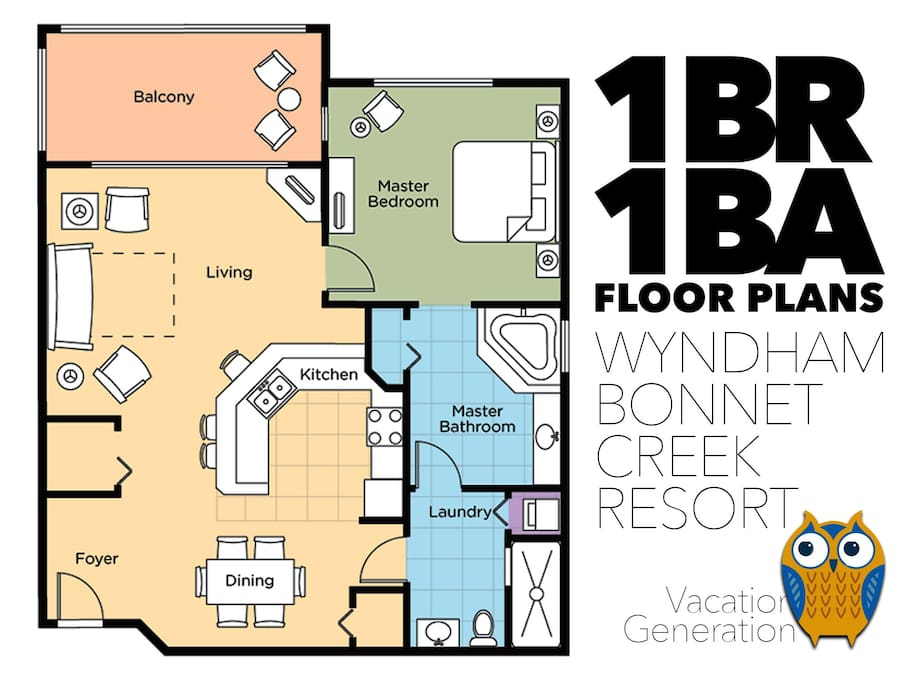 Floor plans and layout for 1BR vacation rental condo at Wyndham Bonnet Creek Resort in Orlando Florida