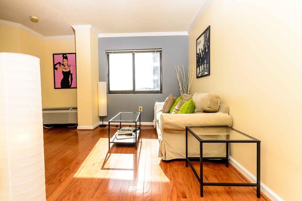 Beautiful living room with hardwood floors