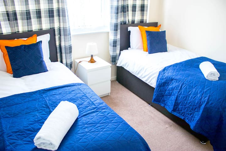 Bedroom 3 includes 2 single zip and lock beds which can be joined to make a super king bed