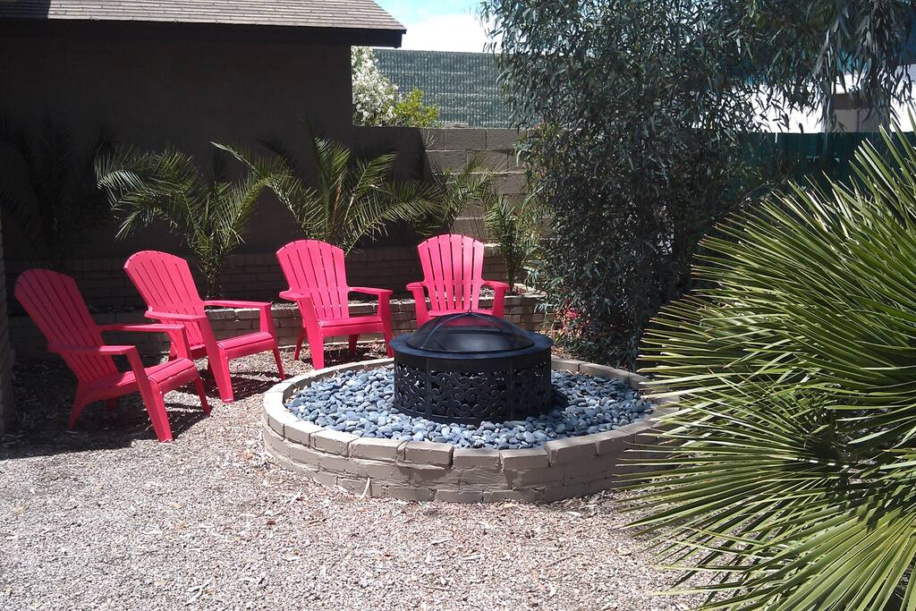 Cozy fire pit with mountain views