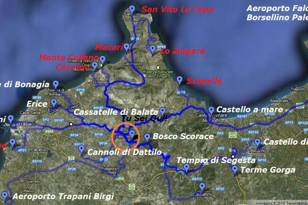 Mappa delle località rggiungibili in meno di 30'