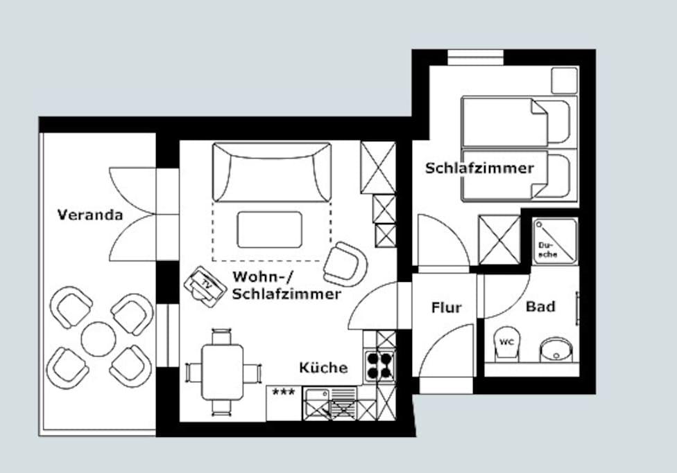 Wohnungszuschnitt der Fewo 3