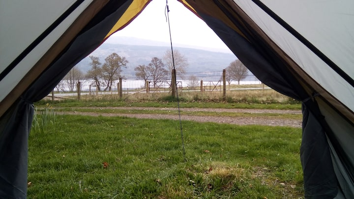 Tipi tent with loch views