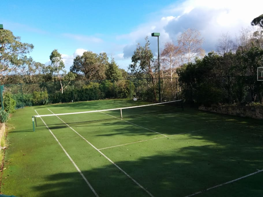 Tennis Court with city views