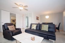 Living Room with marble coffee table and ceiling fan
