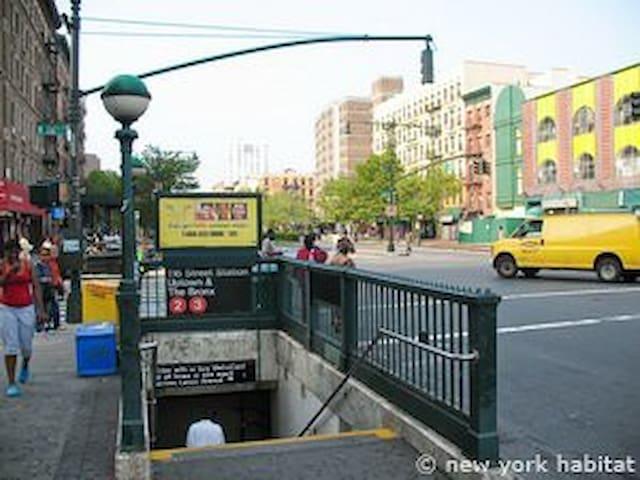 116th Street Train 2/3. 3 blocks away!