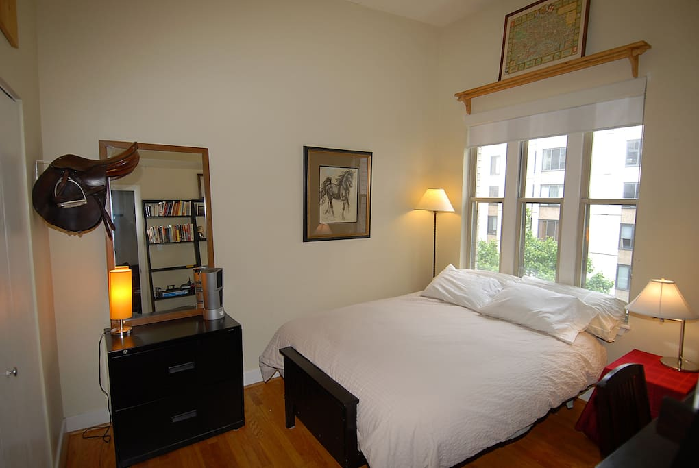 Your lovely room! Real queen bed! Comfy, cool, great light, hardwood floors.
