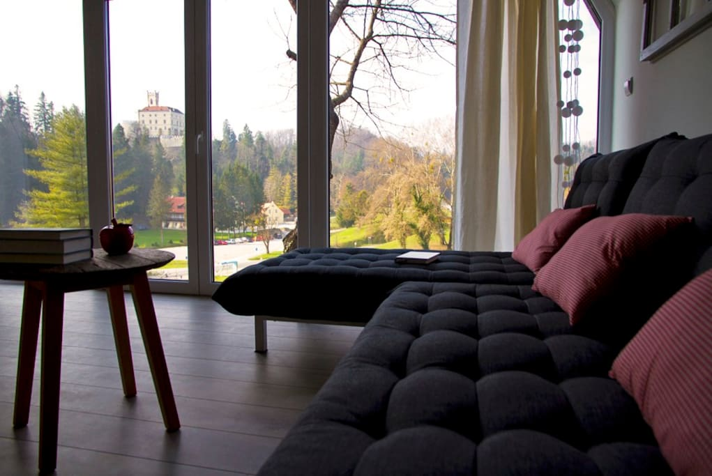 amazing view of the famous castle Trakošćan from our living-room