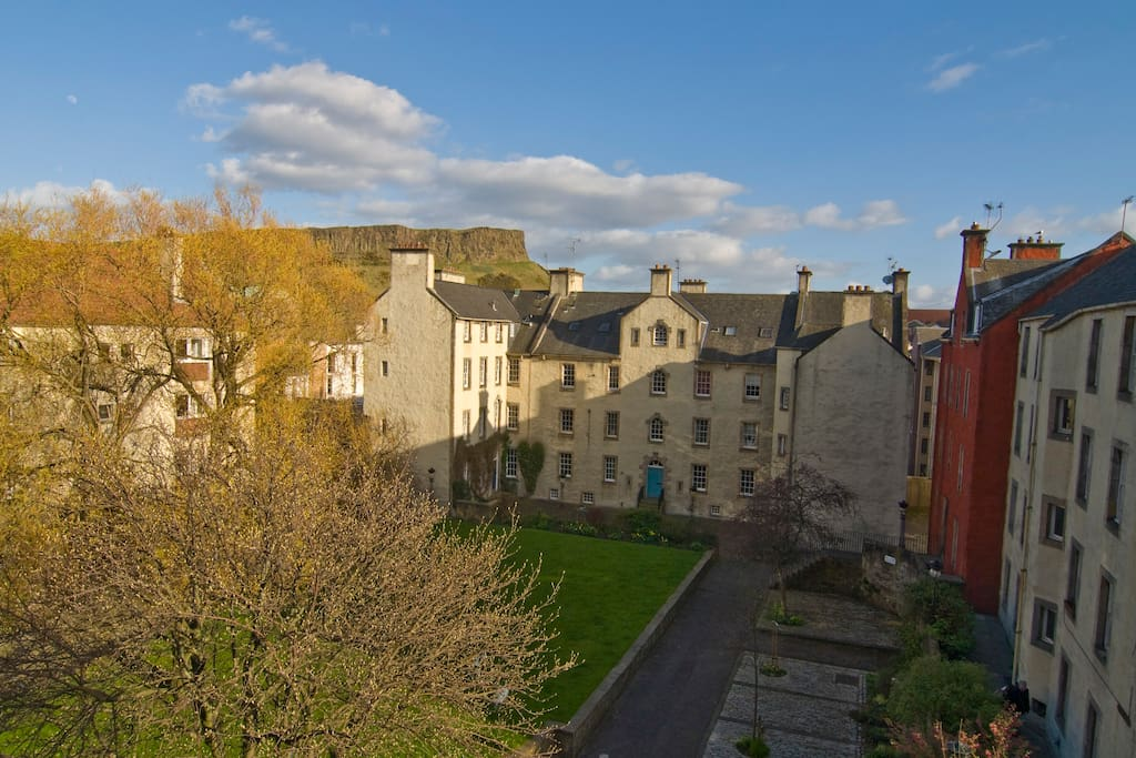 Springtime view of Chessels Court and Salisbury Crags from your room.