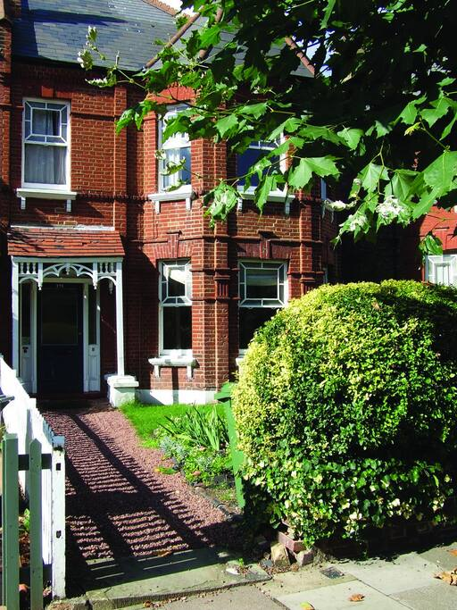 Front of the Victorian property – lovely, leafy Queen's Park!