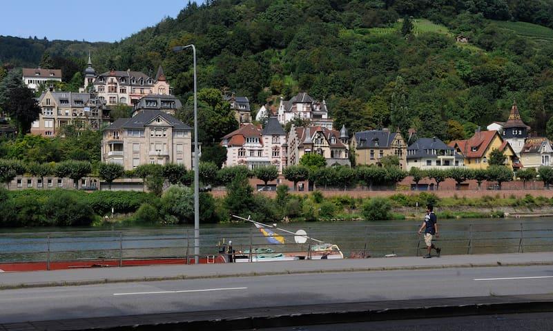 View from Neckarmünzplatz on Neckar / Aussicht vom Neckarmünzplatz auf den Neckar