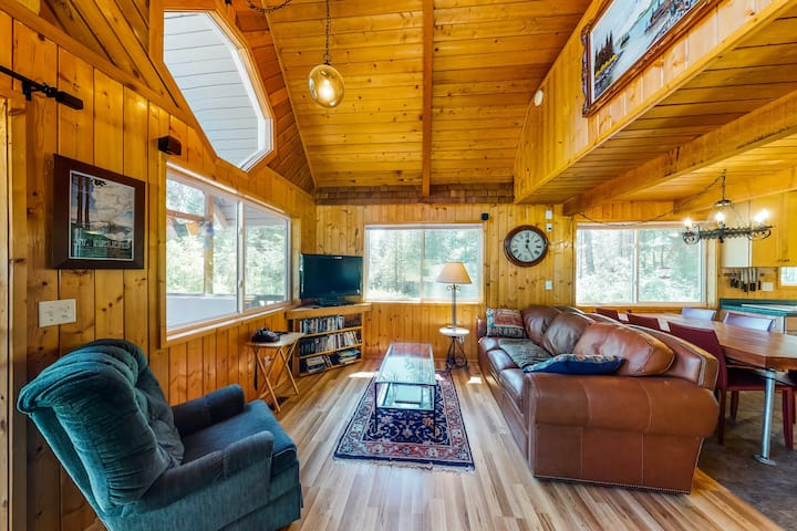 Rustic, Dog-Friendly Retreat w/ Private Hot Tub, Wood Stove & Furnished Deck!