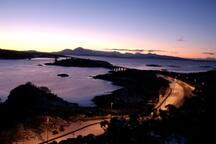 Evening winter view of Skye Bridge