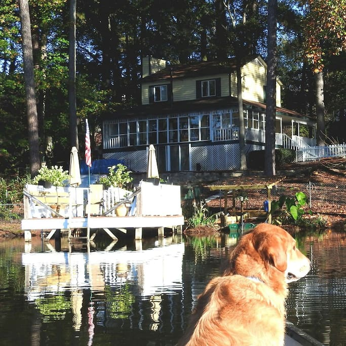 Lakeside of house. You have the upper two floors as well as use of the dock, an antique wood boat with an electric motor, and an Old Town canoe. Captain shown is optional. :-)