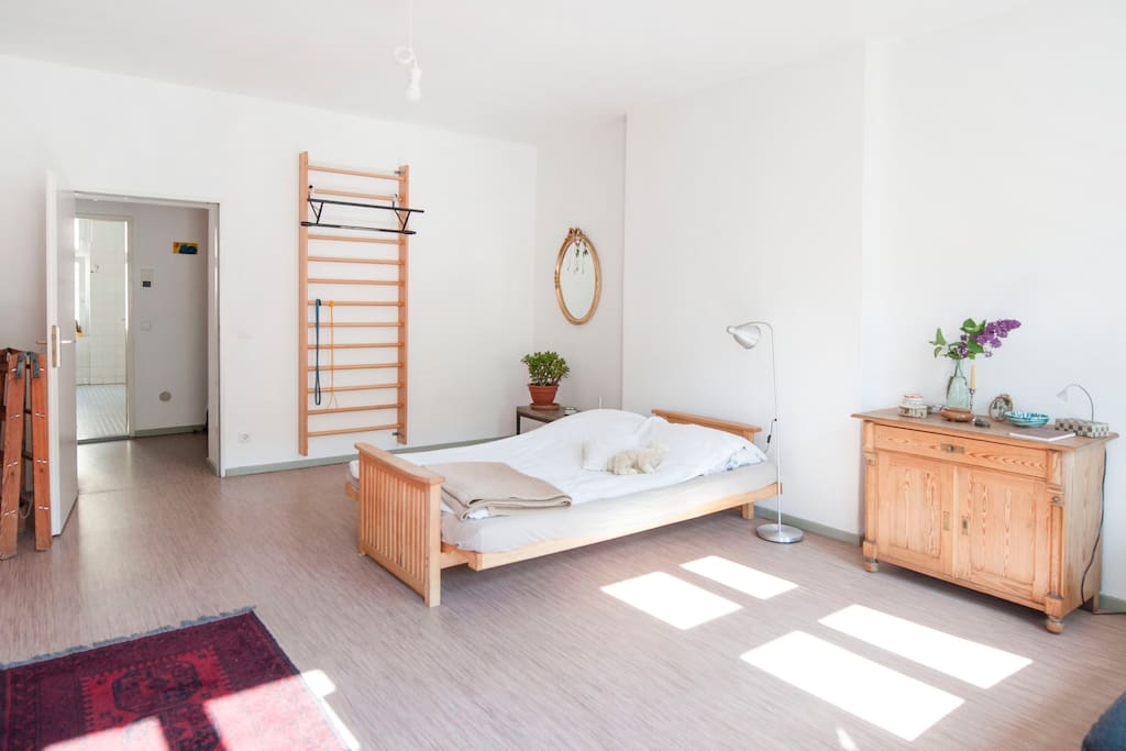Bedroom, spacious and bright. You can even exersize in it!