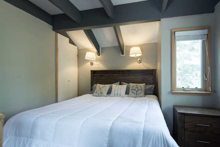 Master bedroom with walk in closet and King bed