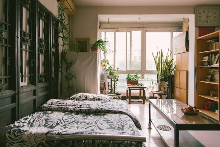 【陋室·你在北京的家】客厅沙发床,6号线黄渠站,近传媒大学、朝阳大悦城;直达南锣鼓巷、后海