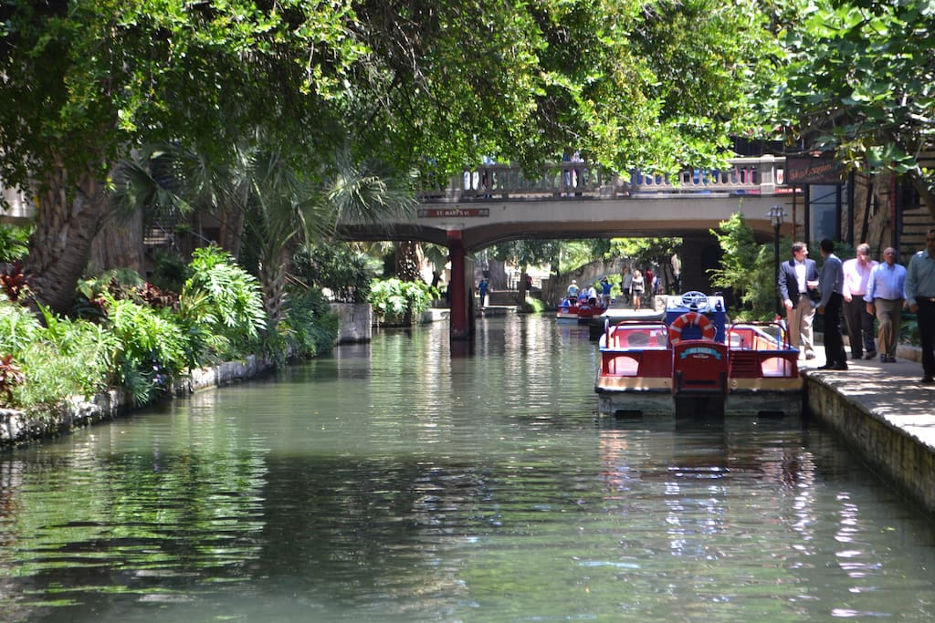 The commercial area of the Riverwalk is 1.5 miles by paved trail.  A lovely stroll round trip.