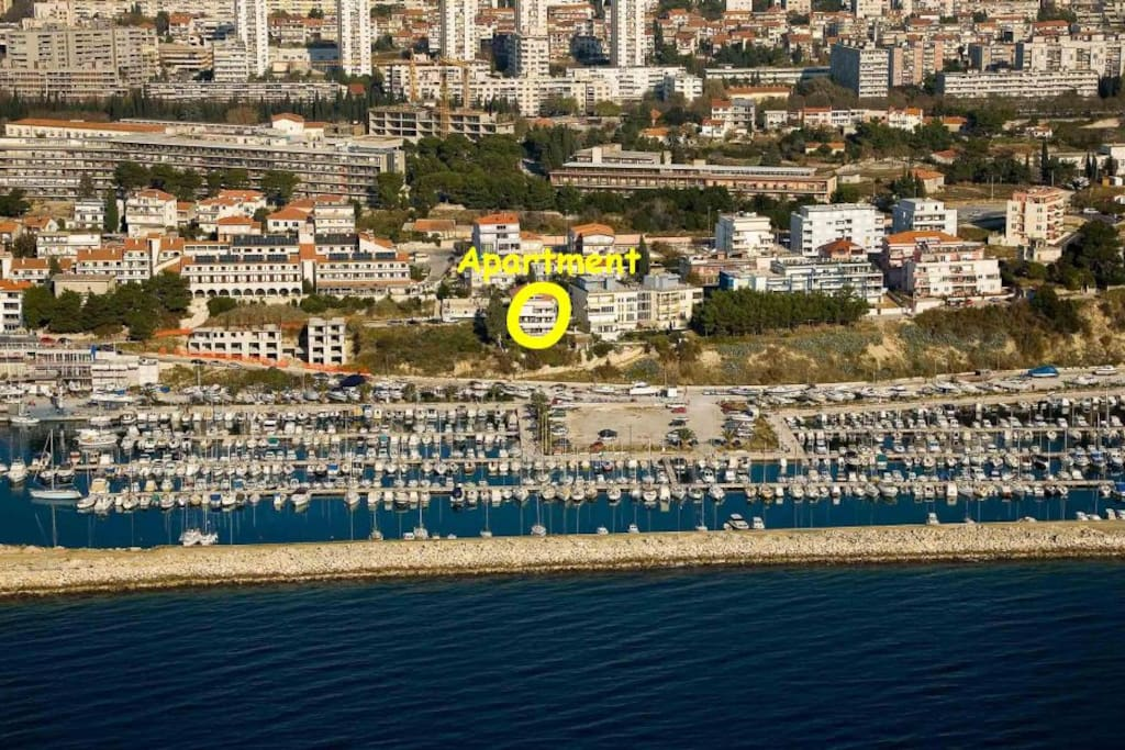This is where building is situated, apartment is on ground floor, without direct view on the sea.