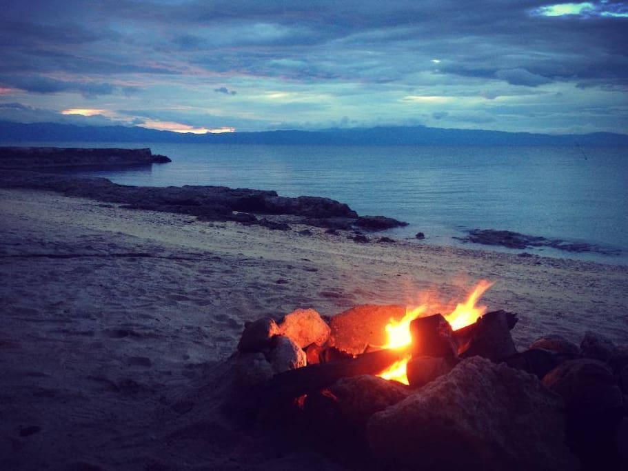 Bonfires on the beach