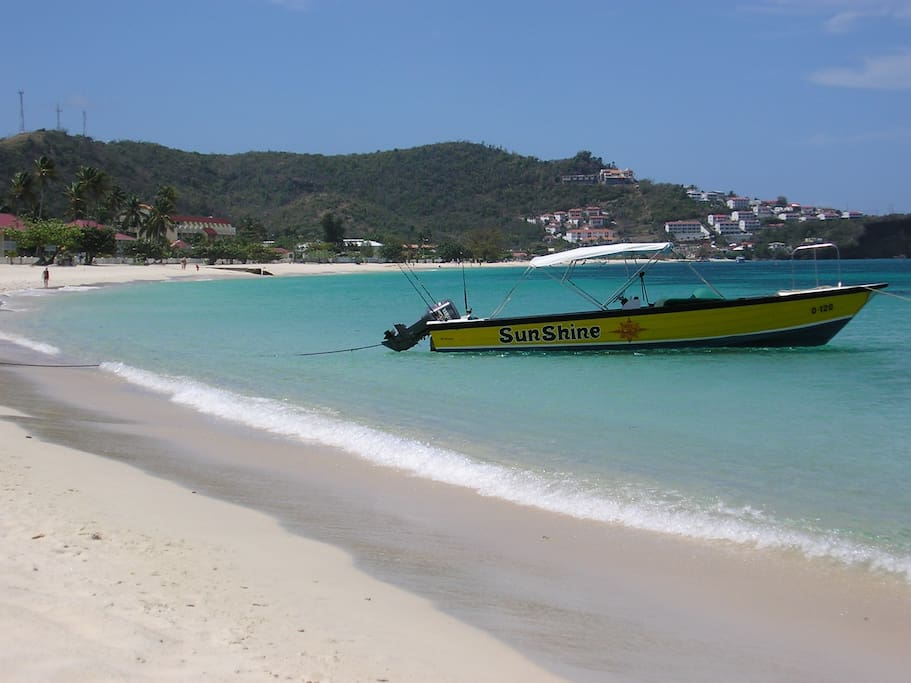 The apartment overlooks Grand Anse beach - a mile of white sand. Diving schools, whale watching tours and restaurants are all nearby.
