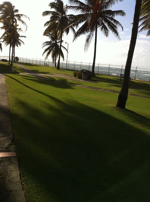 Inside the complex: ocean view and beach access